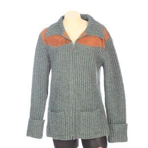 Banana Republic Green Lambswool Cardigan Sweater